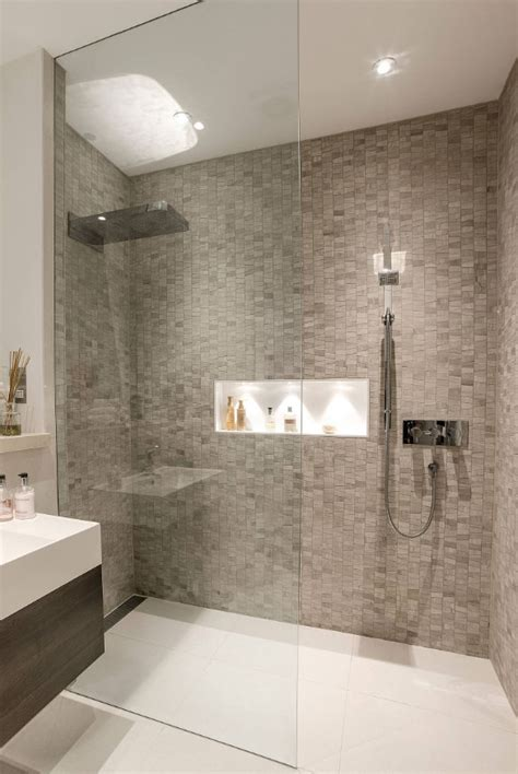 luxury walk  shower tile ideas   inspire
