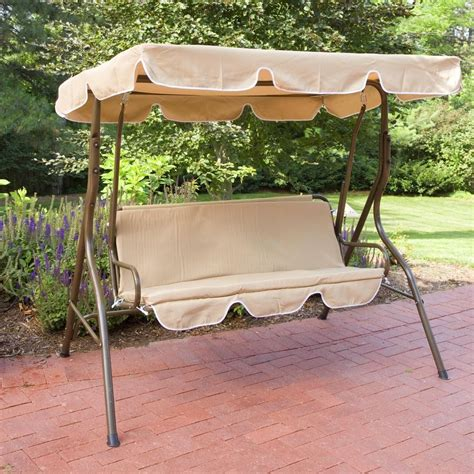 outdoor patio swing bench yard deck glider porch canopy