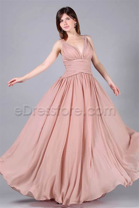 dusty pink long formal dress wedding guest dresses