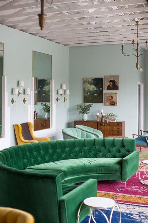 green sofa living room green velvet upholstery in living rooms inspiration