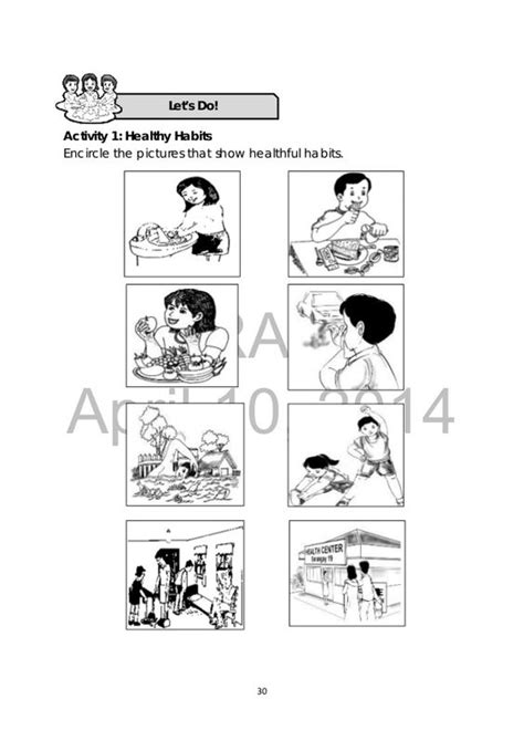 health habits worksheet grade 1 search science health search and