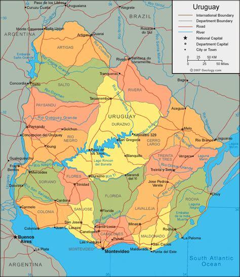 uruguay map  satellite image