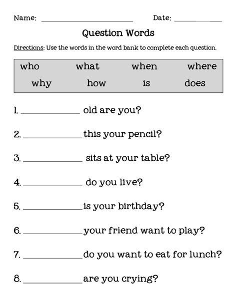 question words pdf ela english grammar worksheets english exercises english activities