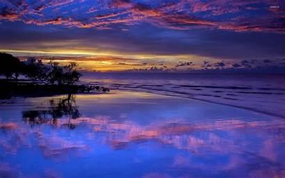 Sunset Clouds Purple Beach Amazing Wet Reflected