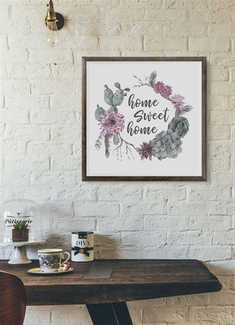 printable succulent monogram wall art  navage patch