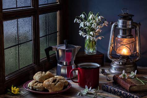 wallpaper window flowers table lantern coffee