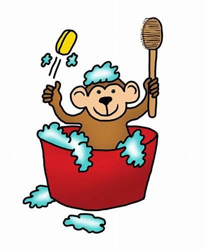Monkey Bath Funny Drawings Taking Clip Monke