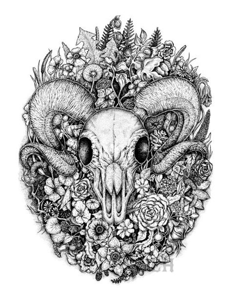 Ram Skull Among Flowers Leaves Black White Ink