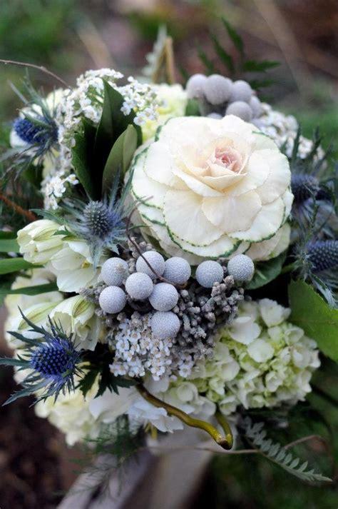 silver brunia berries kale thistle wedding