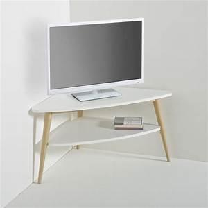 Meuble D Angle Pour Tv : meuble tv d 39 angle vintage double plateau jimi blanc la ~ Teatrodelosmanantiales.com Idées de Décoration