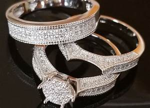 his and her rings set 1ctw cz white gold tone silver 3pc With silver wedding ring sets for his and her