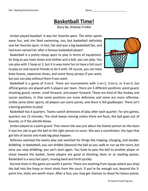 Reading Comprehension Worksheets High School Sport Reading Best Free Printable Worksheets