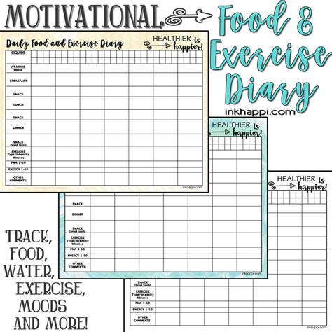 Food And Exercise Diary Template by Motivational Food And Exercise Diary Free Printable