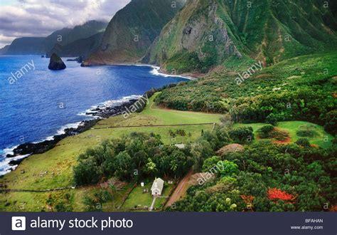 Leper Colony Aerial Molokai Hawaii Stock Photo