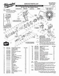 Milwaukee 2650-20 B55a Parts  4 Hex Impact Driver