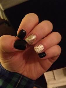 Black & gold acrylic nails.   Nails   Pinterest