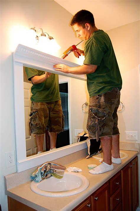 bathroom mirror trim ideas framed mirror diy trim crown molding liquid nails