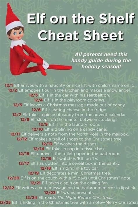 elf   shelf cheat sheet pictures   images