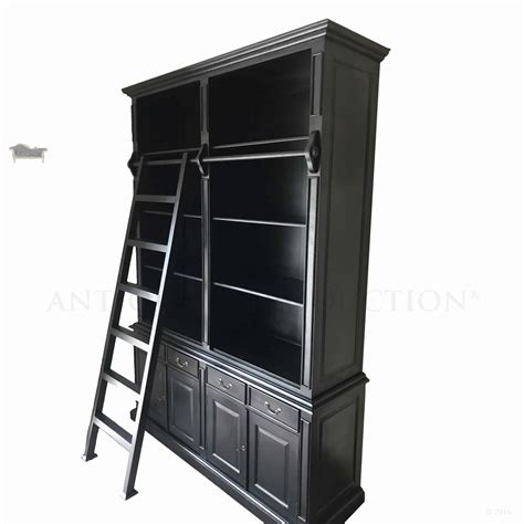Black Bookshelves For Sale by 4 Drawer Provincial Open Bookcase With Ladder
