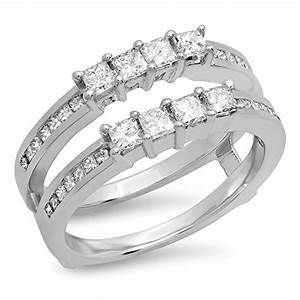 090 carat ctw 14k gold princess cut white diamond With wedding ring enhancers princess cut