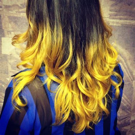Yellow Ombre Hair Stripes Fall Hair Hair Color Ombre Hair