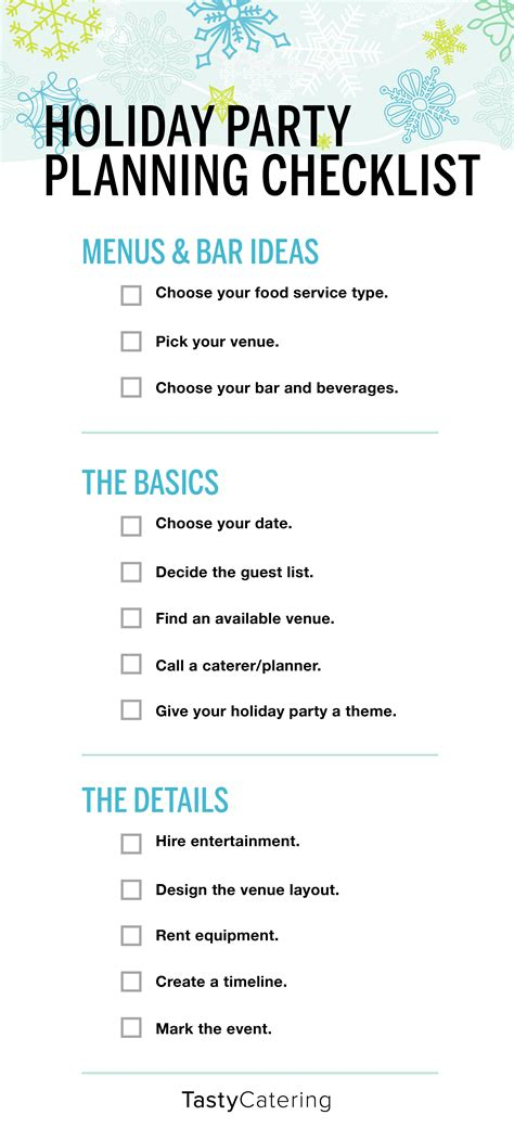 company holiday party planning checklist tasty catering
