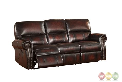 uttermost mirror burgundy lay flat reclining sofa in top grain leather