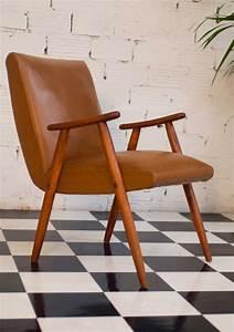 Fauteuil Années 50 : fauteuil vintage ska skai simili cuir ann es 50 1950 50s marron marron clair noir ~ Dallasstarsshop.com Idées de Décoration
