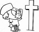 Cartoon Boy Crying Memorial Kleurplaat Grave Coloring Graf Huilen Soldiers Soldaten Bij Jongen Outlined Depositphotos Tekenfilm Overzicht Stockillustratie sketch template