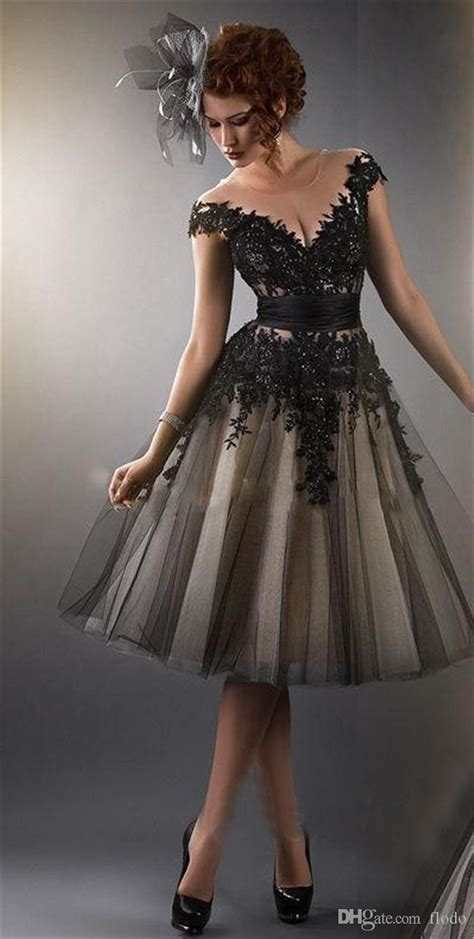black dress short sheer cocktail prom dresses