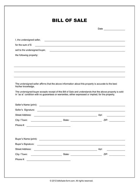 bill  sale forms  printable documents