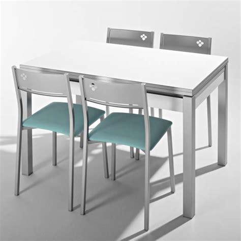 recherche table de cuisine table de cuisine en mélaminé avec allonges et tiroir pieds alu iris 4 pieds tables