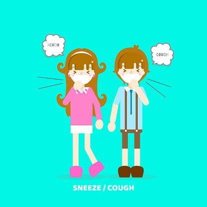 Respiratory reactions (shortness of breath, coughing, sneezing, etc.) Boy And Girl Sneezing Coughing Having Allergy Air Pollution Concept Stock Illustration ...