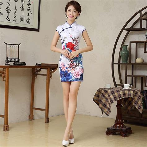 Retro Sexy Chinese Tang Suit Qipao Costumes Short Cheongsam Dresses Chinese Traditional Dress In