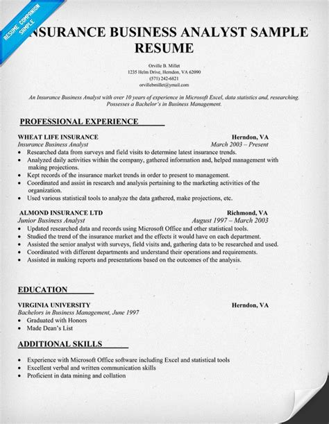 insurance business analyst resume sle resume sles