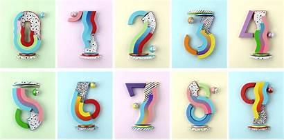 Numbers Typography 3d Designs Muokkaa Yorokobu Colorful