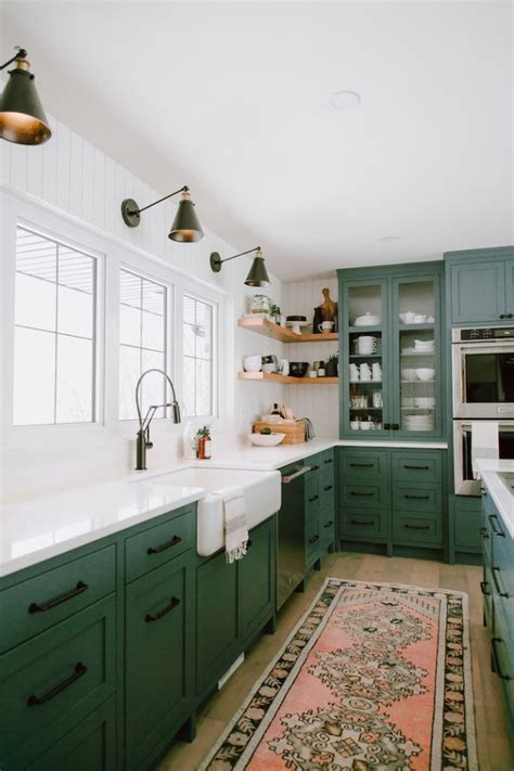 trending paint colors for kitchens green kitchen cabinet inspiration bless er house 8588