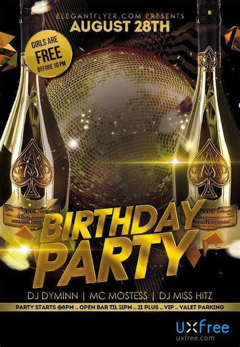 birthday party flyer psd template facebook cover