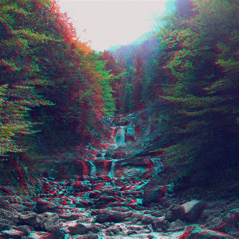 anaglyph mountain green nature art papersco
