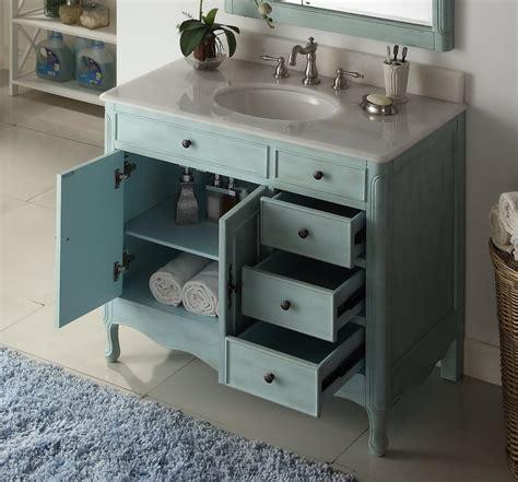 38 Distressed Light Blue Daleville Bathroom Vanity Hf
