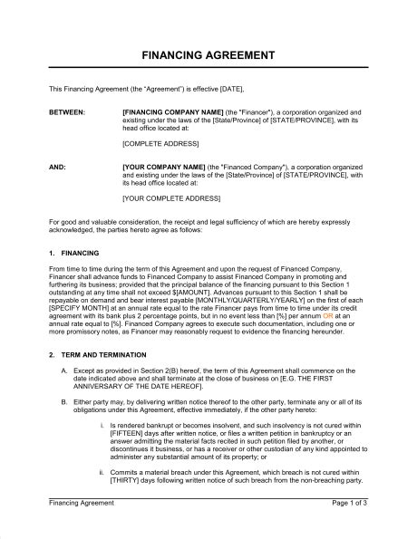 financial agreement financing agreement template sle form biztree