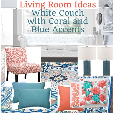 Living Room Accents Ideas by White Living Room With Coral And Blue Accents Home
