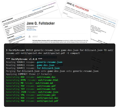 create polished resumes and cvs with hackmyresume jquery