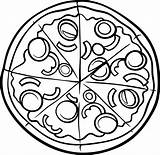 Pizza Coloring Printable sketch template