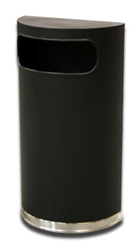 Trash Can 9 Inches Wide by Half Trash Can Black Steel Side Entry 9 Gallon