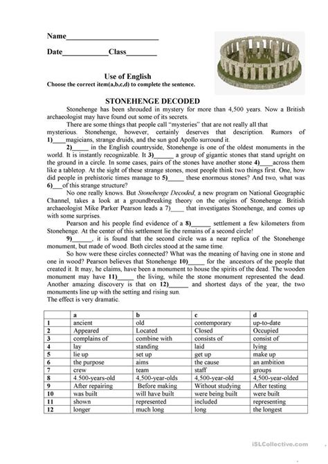 Stonehenge Worksheet  Free Esl Printable Worksheets Made By Teachers