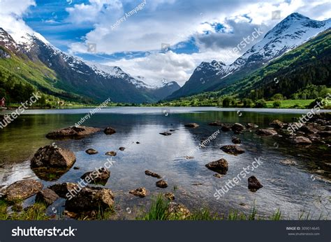 Beautiful Nature Norway Natural Landscape Stock Photo