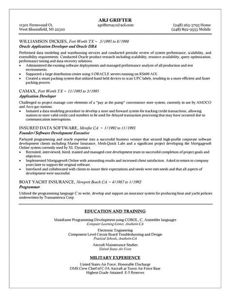 Database Management Experience Resume by Oracle Dba Resume Exle