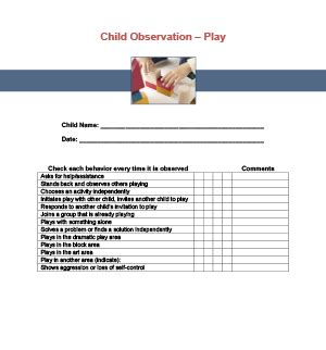 play observation checklist printable  child care