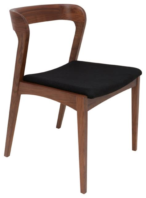 bjorn dining chairs walnut with black fabric seat
